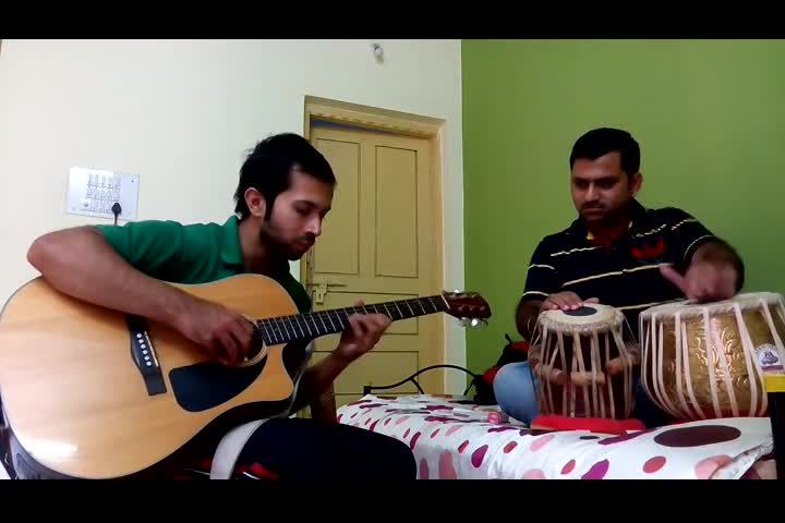 Tabla with Guitar (Monjyoti)  jamming at home